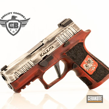 Sig Sauer P320 Pistol Cerakoted Using Snow White And Firehouse Red
