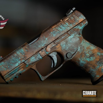 Copper Patina Walther Ppq Pistol Cerakoted Using Robin's Egg Blue And Copper