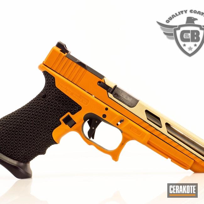 Cerakoted: TEQUILA SUNRISE H-309,S.H.O.T,Stippling,Glock 34,Racegun,Glock 17,Slide Cut,Hotrod,Hot Rod Theme,G34,BENELLI® SAND H-143,Glock,FAST