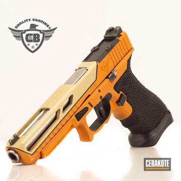 Glock 34 Pistol Cerakoted Using Tequila Sunrise And Benelli® Sand