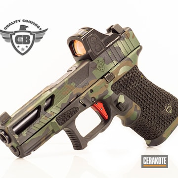 Multicam Glock 19 Pistol Cerakoted Using Graphite Black