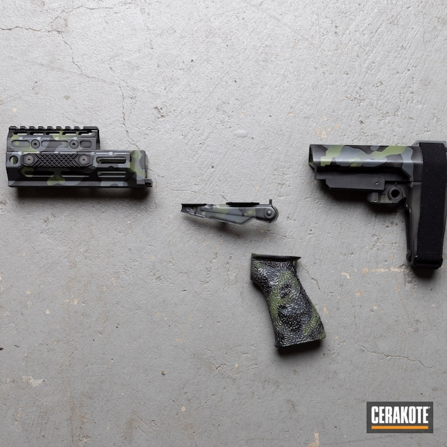 Cerakoted: S.H.O.T,SIG™ DARK GREY H-210,Medford,SB Tactical,9mm,Graphite Black H-146,Oregon,black flag armory,Southern Oregon,Small Parts,Midwest industries,MULTICAM® DARK GREEN H-341,AK