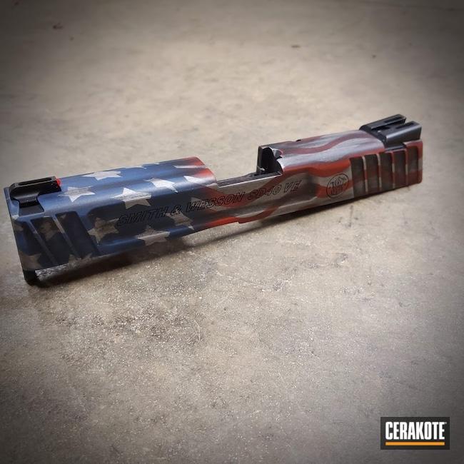 Cerakoted: S.H.O.T,NRA Blue H-171,FIREHOUSE RED H-216,Battleworn,Smith & Wesson,American Flag,Pistol Slide
