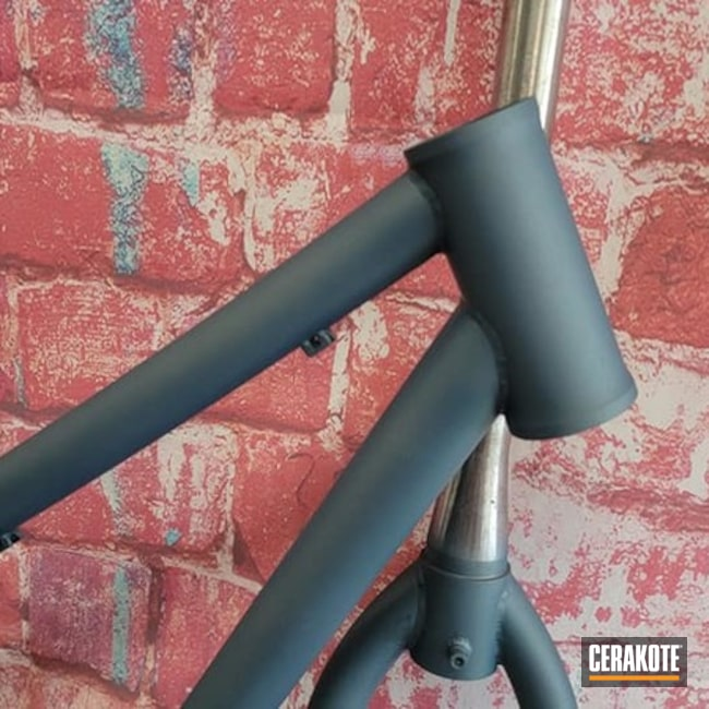 Bicycle Frame And Parts Cerakoted Using Blue Titanium