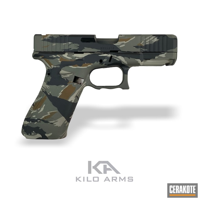 Cerakoted: S.H.O.T,Glock 45,Vietnam Tiger Stripe Camo,Tiger Stripes,Frame,Armor Black H-190,Pistol,Slide,A.I. Dark Earth H-250,Handgun,9mm,HAZEL GREEN H-204,Camo,Glock,FS Sabre Sand H-33446