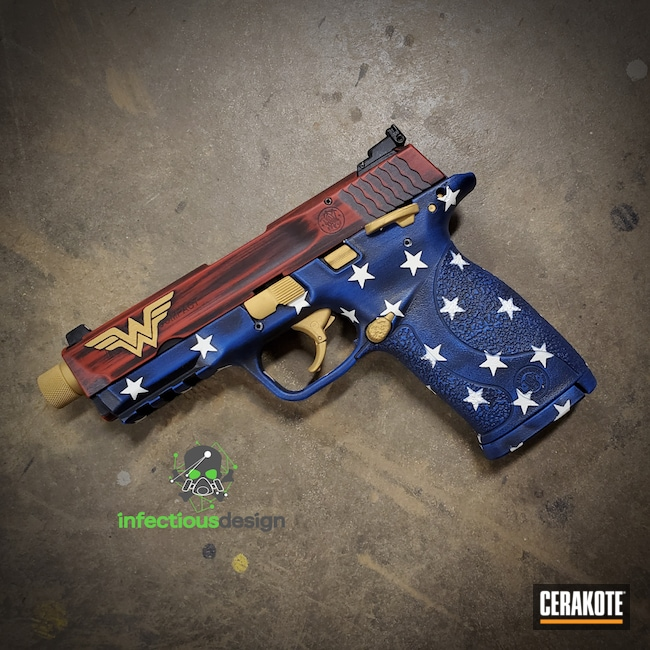 Cerakoted: S.H.O.T,Wonder Woman,NRA Blue H-171,FIREHOUSE RED H-216,Smith & Wesson,Shield