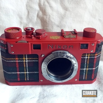 Vintage Nikon Camera Cerakoted Using Electric Yellow And Habanero Red
