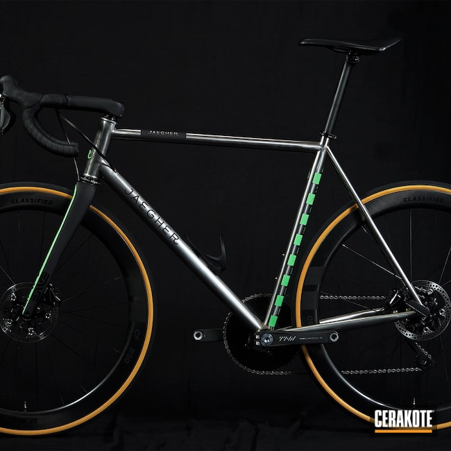Cerakoted: Bicycle Frame,Graphite Black H-146,Bicycle,PARAKEET GREEN H-331,Bicycle Parts
