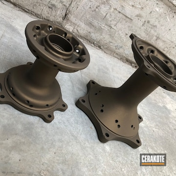 Motorcycle Wheel Hubs Cerakoted Using Burnt Bronze