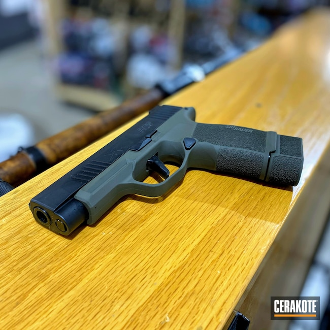 Cerakoted: S.H.O.T,Sig P365,Concealed,Pistol,Sig Sauer,O.D. Green H-236,Firearms,Carry Gun,CCW