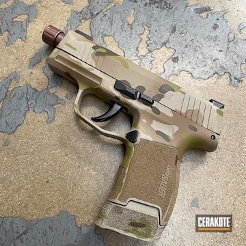 Multicam Sig Sauer P365 Cerakoted Using Barrett® Brown, Multicam® Dark Brown And Mcmillan® Tan