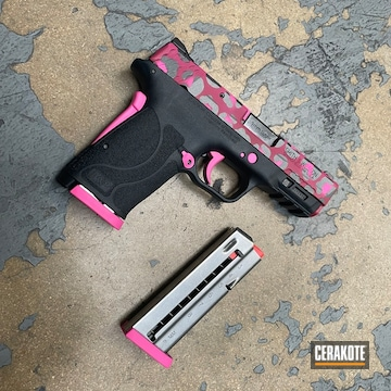 Smith & Wesson M&p Shield Cerakoted Using Sig™ Pink, Tactical Grey And Prison Pink