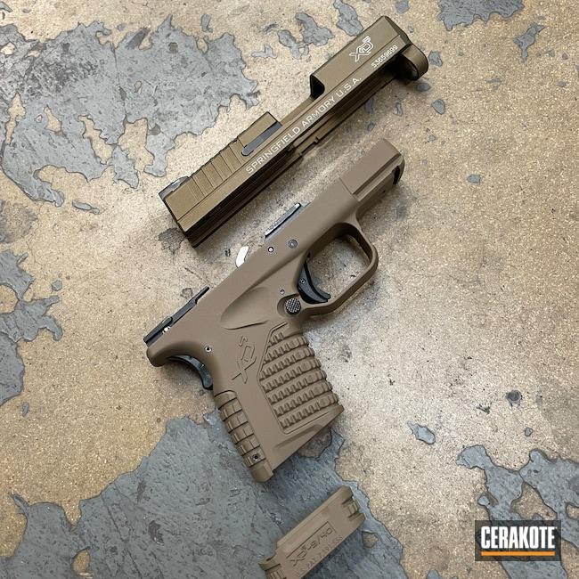 Cerakoted: S.H.O.T,Burnt Bronze H-148,Pistol,Springfield Armory,Springfield XDS,Flat Dark Earth H-265,Handguns