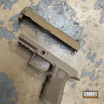 Sig Sauer P320 Pistol Cerakoted Using Flat Dark Earth And Burnt Bronze