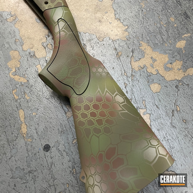 Cerakoted: S.H.O.T,MULTICAM® BRIGHT GREEN H-343,Desert Sage H-247,MULTICAM® LIGHT GREEN H-340,Pump-action,Hunting Shotgun,Remington,Pump-action Shotgun,Remington 11-87,Kryptek,Shotgun,Patriot Brown H-226,Camo,MULTICAM® DARK BROWN H-342