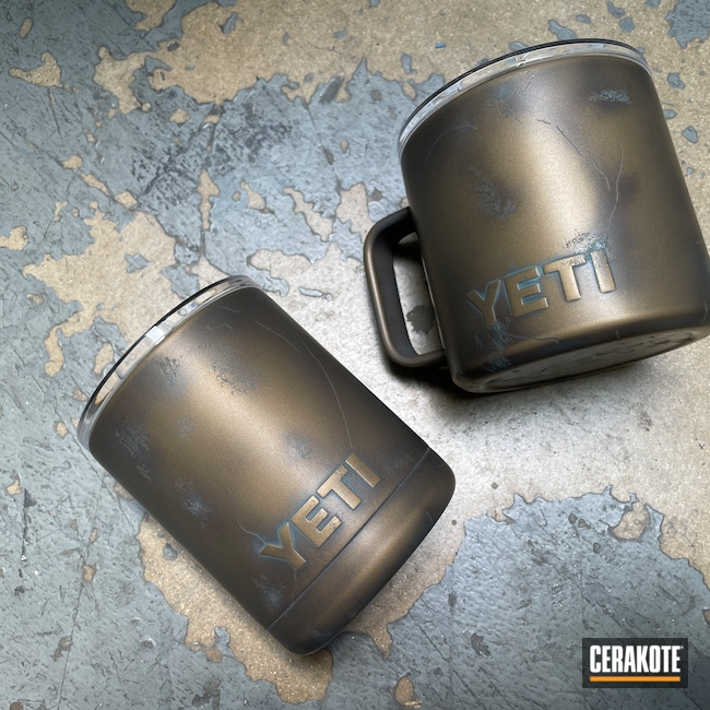 Cerakoted: Distressed,YETI Cup,Coffee Mug,Armor Black H-190,Stainless Steel Mug,Midnight Bronze H-294,Faux Cracks,AZTEC TEAL H-349,Aged Patina,YETI,Burnt Bronze H-148,Worn,Mug,Patina