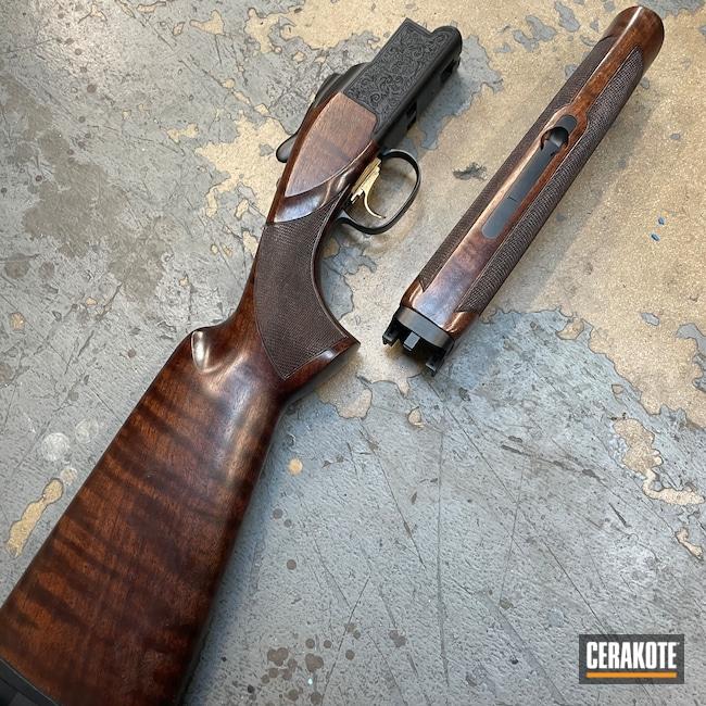 Cerakoted: S.H.O.T,Double Barrel Shotgun,Shotgun,Graphite Black H-146,Browning,Browning Citori,Laser Engraved,San Antonio Laser Engraving