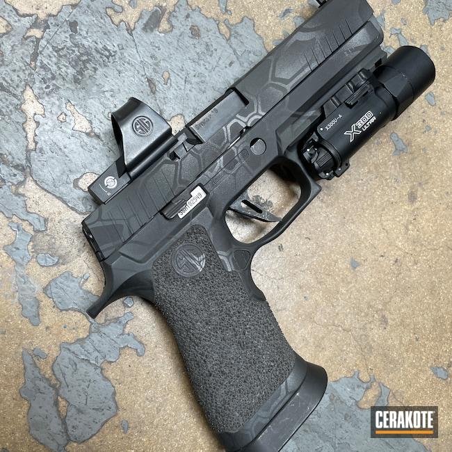Cerakoted: S.H.O.T,Titanium E-250,Kryptek,Graphite Black H-146,Stippled,Camo,Pistol,Hand Stippled,SIG™ DARK GREY H-210,Handguns,Defkon3,Handgun