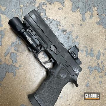 Kryptek Camo Sig Sauer P320 Pistol Cerakoted Using Titanium, Sig™ Dark Grey And Graphite Black