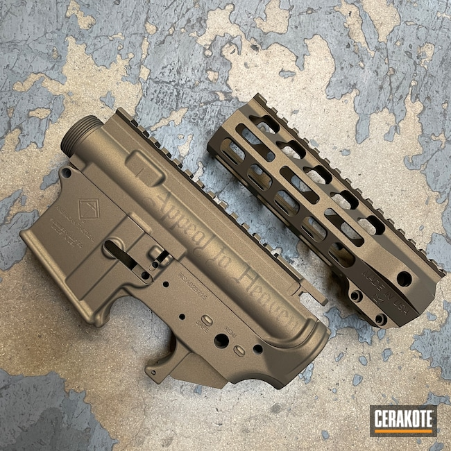 Cerakoted: S.H.O.T,Upper / Lower / Handguard,American Tactical,Burnt Bronze H-148,Midnight Bronze H-294