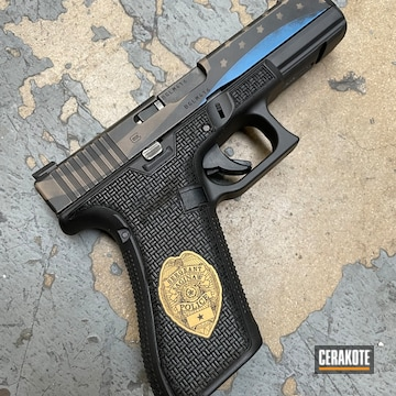 Thin Blue Line Themed Glock 17 Pistol Cerakoted Using Armor Black, Nra Blue And Magpul® Flat Dark Earth