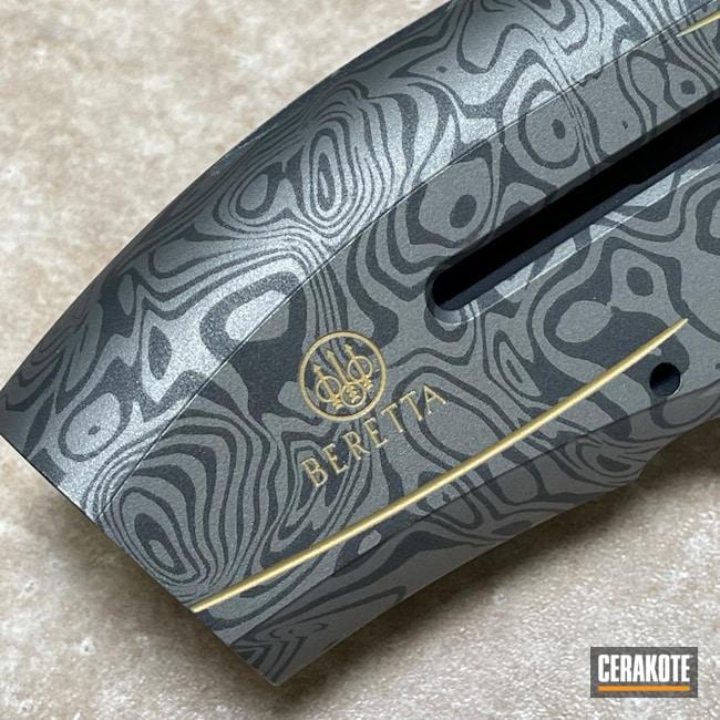 Cerakoted: S.H.O.T,Shotgun,Damascus Steel,Gun Metal Grey H-219,12 Gauge,Beretta,a400,Damascus,Cobalt H-112,Gold H-122,Baretta Excel A400