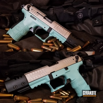 Walther P22 Pistol Cerakoted Using Robin's Egg Blue