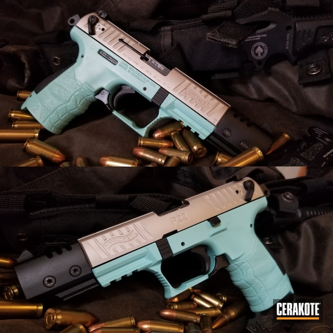 Cerakoted: S.H.O.T,Walther,Robin's Egg Blue H-175,Certified Applicator,Refinished