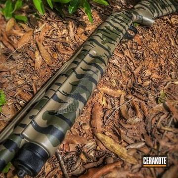 Custom Camo Benelli Shotgun Cerakoted Using Armor Black, Mil Spec O.d. Green And Magpul® Flat Dark Earth