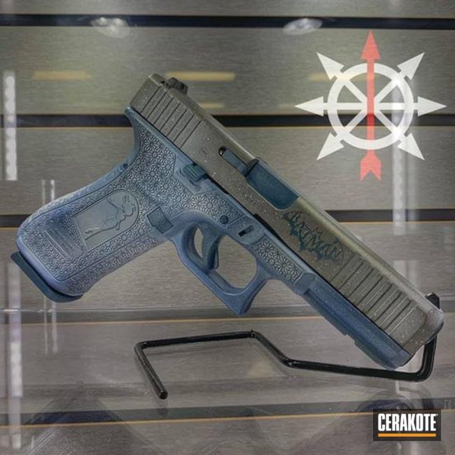 Cerakoted: S.H.O.T,Glock 19,Snow White H-136,Pistol,Glock,Blue Titanium H-185,POLAR BLUE H-326,Batman