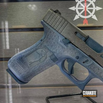 Glock 19 Pistol Cerakoted Using Snow White, Polar Blue And Blue Titanium