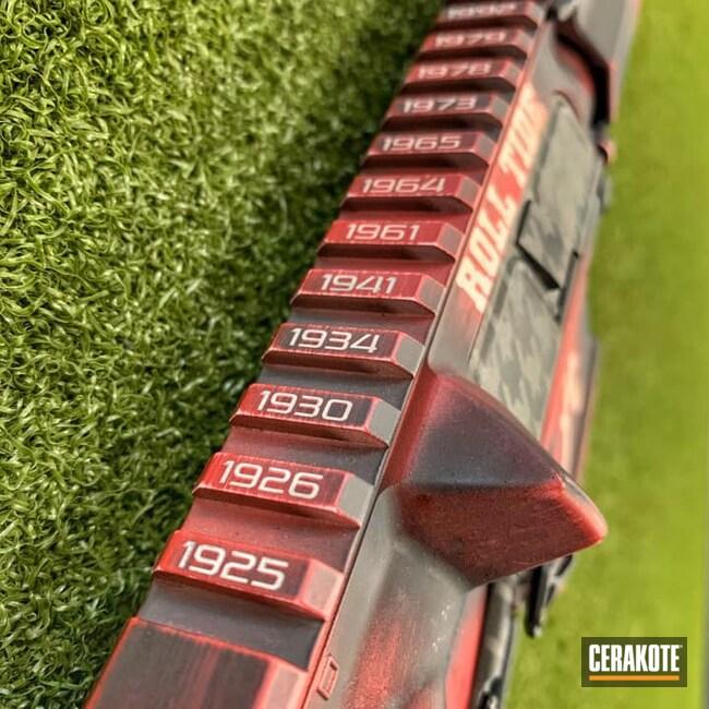 Cerakoted: S.H.O.T,AR Pistol,Distressed,FROST H-312,Crimson H-221,Tungsten H-237,Armor Black H-190,Custom AR