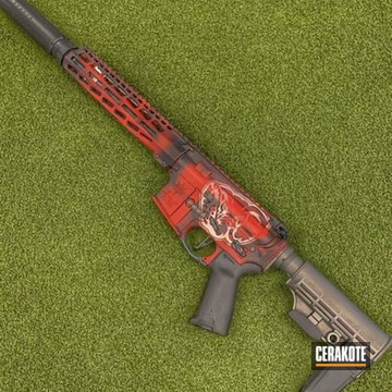 Custom Ar Cerakoted Using Crimson, Armor Black And Frost