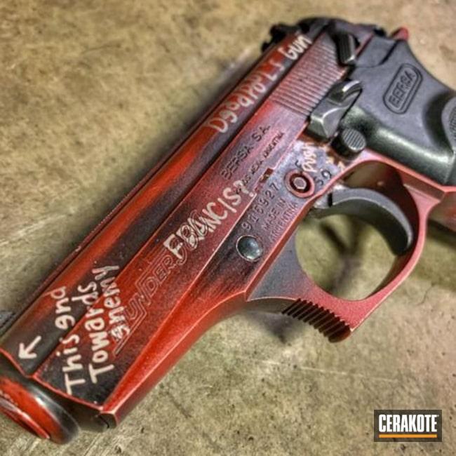 Cerakoted: S.H.O.T,9mm,Bersa,Distressed,Crimson H-221,Deadpool,Armor Black H-190,Pistol