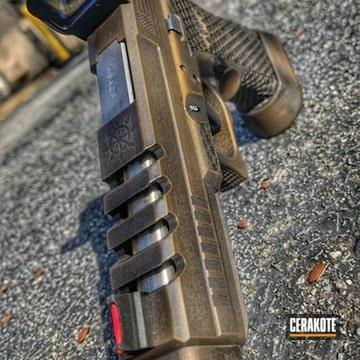 Distressed Glock Cerakoted Using Armor Black And Burnt Bronze
