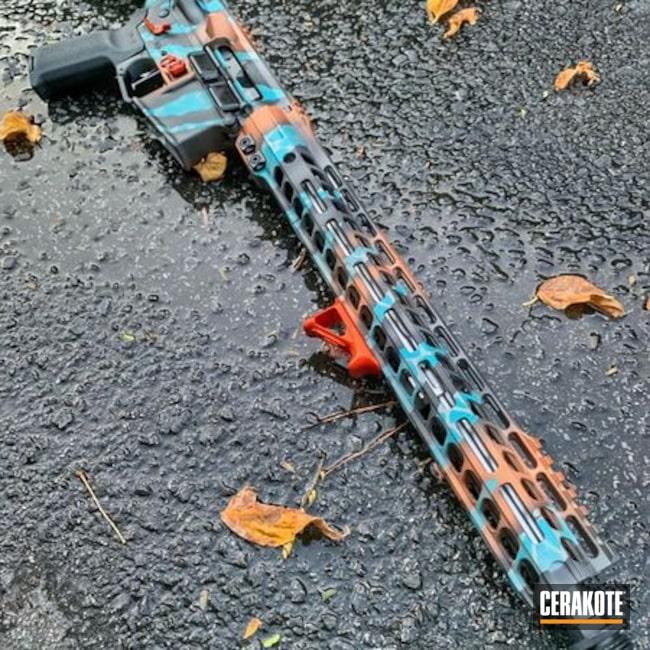 Cerakoted: S.H.O.T,Rifle,COPPER H-347,Tiger Stripes,Precision Tactical,AZTEC TEAL H-349,Camo,Titanium H-170,Cobalt H-112,Custom AR