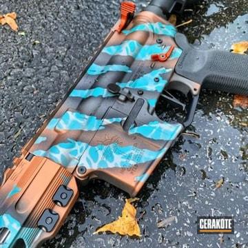 Custom Tiger Striped Ar Cerakoted Using Titanium, Aztec Teal And Cobalt