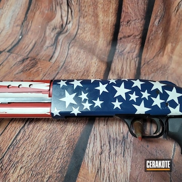 American Flag Themed Mossberg 590 Cerakoted Using Kel-tec® Navy Blue, Stormtrooper White And Habanero Red