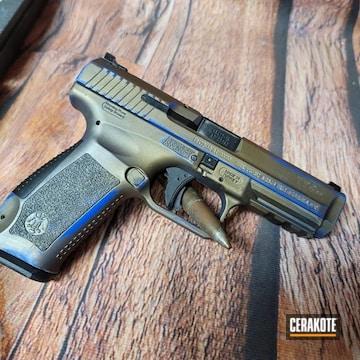 Canik Tps Pistol Cerakoted Using Blue Flame And Burnt Bronze