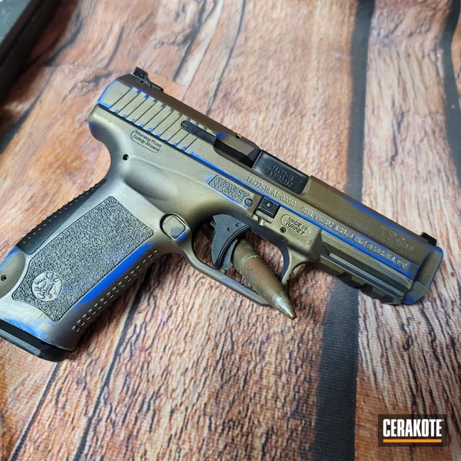 Cerakoted: S.H.O.T,9mm,TpsF9,Canik,BLUE FLAME C-158,Burnt Bronze H-148