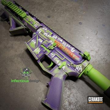 Joker Themed Ar Cerakoted Using Zombie Green And Bright Purple
