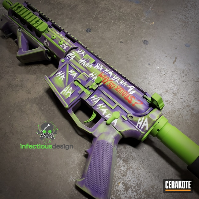 Cerakoted: S.H.O.T,Bright Purple H-217,Joker,Zombie Green H-168,Joker Themed,AR-15