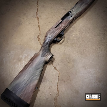Freehand Camo Benelli Shotgun Cerakoted Using Desert Sand And Graphite Black