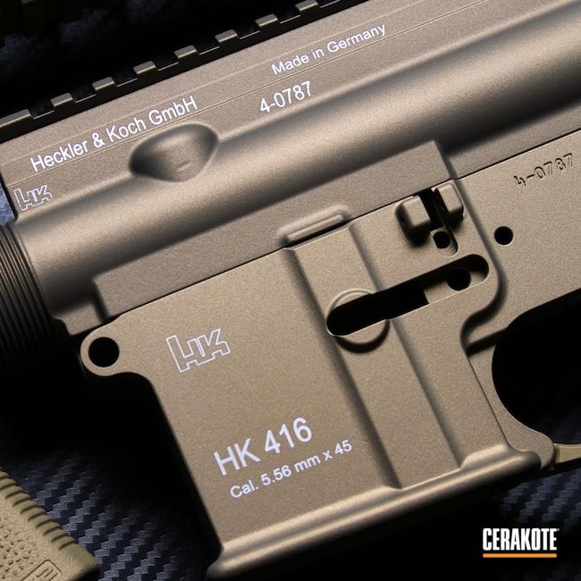 Cerakoted: S.H.O.T,Ral 8000 H-8000,Burnt Bronze H-148,Heckler & Koch,HK416,Gold H-122