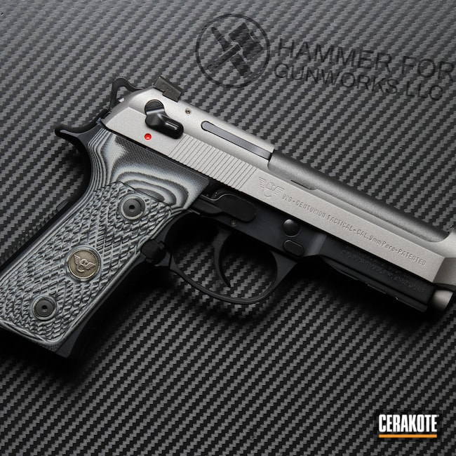 Cerakoted: S.H.O.T,Graphite Black H-146,Tungsten H-237,Titanium H-170,Beretta,Handguns,Wilson Combat