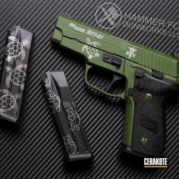 Sig Sauer P228 Cerakoted Using Multicam® Bright Green And Graphite Black