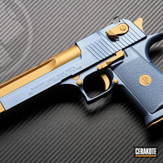 Cerakoted: S.H.O.T,Desert Eagle,50ae,Handguns,Magnum Research Inc,Gold H-122,POLAR BLUE H-326