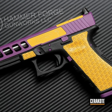Kobe Bryant Tribute Glock Cerakoted Using Corvette Yellow And Bright Purple