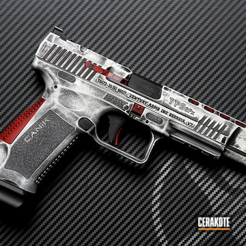 Battleworn Canik Tp9sfx Cerakoted Using Snow White, Usmc Red And Graphite Black