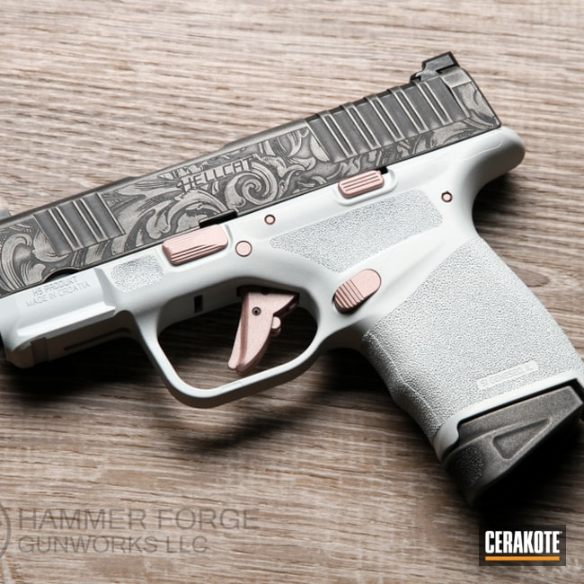 Springfield Armory Hellcat Cerakoted Using Frost, Rose Gold And Titanium